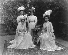 Queen Wilhelmina of the Netherlands (right) with 3 ladies in waiting.