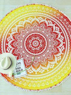Flower Pattern Pom Pom Trim Round Beach Blanket