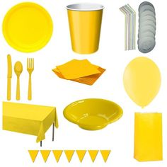 Gule kopper, tallerkner, bestik, servietter, balloner, skåle, festposer, guirlande og dug i en samlet pakke. Fås i mange forskellige farver. MinTemaFest.dk