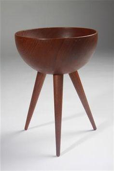 Footed bowl  Made by Bergenblad, Sweden. 1950's.  Solid teak.