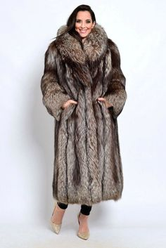 Genuine Mountain Goat Fur lining. Luxury, Beautiful, Super Light Full Length Shearling Coat with Genuine Silver Fox Fur Collar. Dry clean by fur specialist. Fox Fur Coat, Shearling Coat, Animal Print High Heels, Fur Fashion, Womens Fashion, Fur Collars, Fur Jacket, Coats For Women, Style Guides
