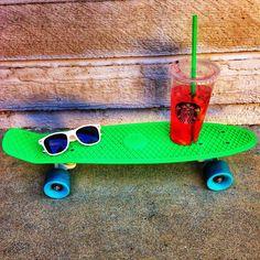 Penny board, sun glasses, and       Starbucks = Summer