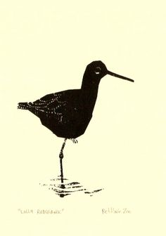 Lolly a Redshank, screenprinted bird study by Petting Zoo