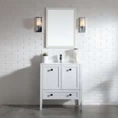 Add elegant form and function to your bathroom with this matte white bathroom vanity! Thanks to its compact design, this solid wood bathroom cabinet with ceramic countertop and basin artfully incorporates style and space to house all your toiletries. Soft-close glides ensure easy drawer action and drawer separators allow you to customize your vanity for optimal organization. Brushed nickel finish hardware puts the finishing touch on bathroom vanity cabinet and ceramic sink.