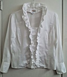 TALBOTS size 6 Ruffle Front White Blouse Button Front Long Sleeve 100% Cotton  #Talbots #Blouse #Anytime