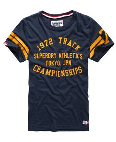 Trackster Sprint T-shirt in Echo Blue Grindle Superdry T Shirt Text Design, Tee Design, Boys Shirts, Tee Shirts, Lacoste, Independent Clothing, Superdry Mens, Superdry Style, Casual T Shirts