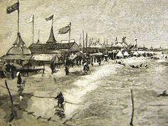 CONEY ISLAND BROOKLYN BRIGHTON PIER 1880s Art Matted Art Mat, Coney Island, Worlds Largest, Brighton, Paris Skyline, Brooklyn, Art Prints, Travel, Vintage