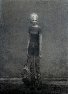 Aron Wiesenfeld (American: 1972 - ) | SUSPENDED | charcoal on canvas 53 x 38.5 inches 2008