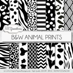Black  White ANIMAL PRINTS digital papers animal by Artfanaticus  My backgrounds, textures, digital paper and clip art can be used for just about any project. Add some additional artistic style to your photo albums, photography projects, photographs, scrapbooking, weddings, invitations, greeting cards, gift wrap, labels, stickers, tags, signs, business cards, websites, blogs, party decor, jewelry  more.  For more digital papers, please visit Artfanaticus at:  http://artfanaticus.etsy.com