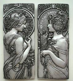 """tuloktulok: """" Art Deco Art Nouveau Silver Effect Plaques by Alphonse Mucha """""""