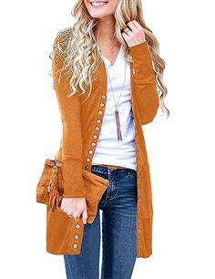 cf437a69a5 Women s S-3XL V-Neck Button Down Knitwear Long Sleeve Soft Knit Casual  Mustard