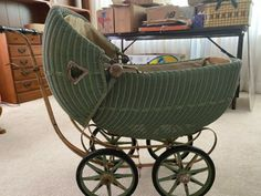 Antique Vintage Wicker/Metal Baby Doll Buggy Stroller   eBay Vintage Stroller, Baby Buggy, Dolls Prams, Baby Carriage, Wooden Handles, Antique Dolls, Baby Dolls, Wicker, Baby Strollers
