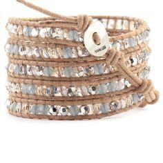 Chan Luu - Grey Crystal Mix Wrap Bracelet on Beige Leather, $240.00 (http://www.chanluu.com/wrap-bracelets/grey-crystal-mix-wrap-bracelet-on-beige-leather/)