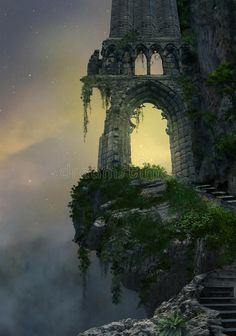 Illustration of background - 75100838 Fantasy ruin. Fantasy gateway ruin in a mountain and landscape with fog , Fantasy City, Fantasy Forest, Fantasy Castle, Fantasy Places, Fantasy World, Dark Fantasy, Fantasy Art Landscapes, Fantasy Landscape, Tulum Mexico