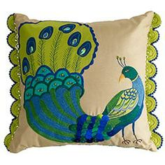 """My love of all things """"peacock"""" extends to this pillow, fo sho."""