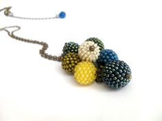 Bunch of beaded beads in a long necklace