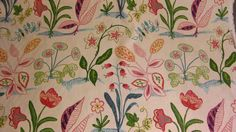 """The Elizabeth Collection, Designer Fabric. Duralee, """"Adele"""" Botanical Floral with white background. Pink, purple, yellow, green, teal"""