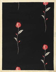 Raoul Dufy: Pink roses against black ground. Design no. 5, 1961.