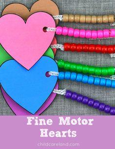 Heart themed fine motor lacing activity.