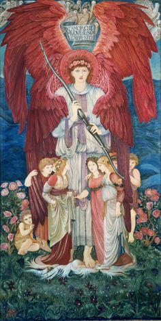 'BURNE-JONES, Sir Edward, Bart. (1833-1898). Cartoon for needlework picture. Love with bow, surrounded by children and standing beneath a cloud of doves. Body-colour. V&A museum object