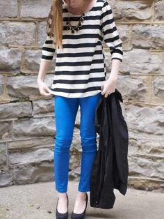 black & white stripe blouse ($38) + blue color jeans