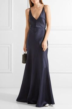 Gabriela Hearst - Louise Herringbone Silk-jacquard Gown - Midnight blue - IT Silk Evening Gown, Silk Gown, Evening Dresses, Long Dresses, Plunging Neckline Dress, White Ball Gowns, Navy Bridesmaid Dresses, Blue Gown, Elegant Outfit