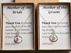 Set of 2 Mother of the bride and groom gift cards necklace-Sterling silver infinity pearl necklaces-Mother's jewelry, mother in law necklace