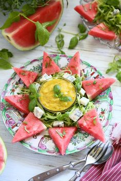 Watermelon Salad with Cucumber and Gorgonzola Sweet Watermelon, Watermelon Salad, Watermelon Recipes, Cucumber, Fresh Mint Leaves, Fresh Lime, Home Recipes, Kitchen Recipes, Mango Dressing