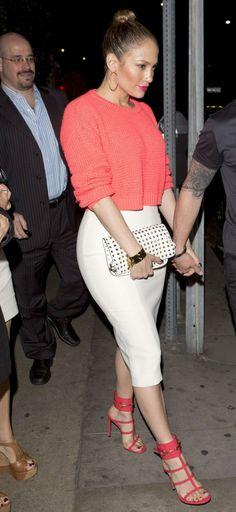 Celebrity Style,Jennifer Lopez,Shopping Apr, 9 2013 3:46 pm Get the Look: Jennifer Lopez's Giorgio Baldi Topshop Fluoro Pink Sweater, White Pencil Skirt, and Gucci Ursula Sandals