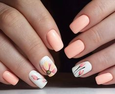 beautiful fall nail art design to copy now 8 ~ thereds.me : beautiful fall nail art design to copy now 8 ~ thereds. Spring Nail Art, Spring Nails, Summer Nails, Spring Wear, Acrylic Nails For Spring, Spring Nail Colors, Coral Nails, Peach Nails, Flower Nail Designs