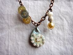 Fossil shell button pearl necklace polymer clay by TaraWhiteStudio