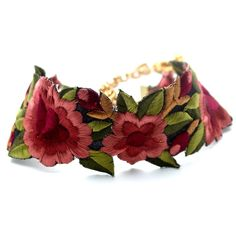 Handcut Embroidered Floral Statement Choker Silk Thread Floral Embroidery 9 Inches Long with a 4 Inch Extender Hand spun in India Original Child of Wild Design