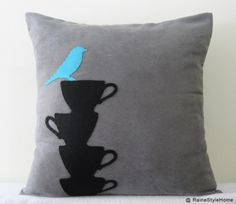 Blue Bird Resting On Teacups Grey Cushion Cover. Modern