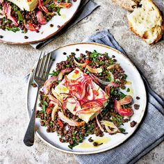 Baked feta with lentils, chilli and herbs