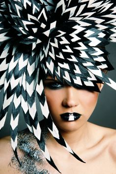 black and white hairpiece  by David Murray Ireland