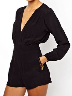 Black Long Sleeve Plunge Neckline Playsuit #romper #sexy #shorts