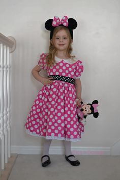 Minnie Mouse Costume Dress Pink Polka Dots by BITSnSCRAPS on Etsy, $65.00