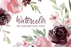 Burgundy Flowers, Blush Flowers, Illustrations, Graphic Illustration, Creative Sketches, Print Templates, Watercolor Flowers, Hand Lettering, Drawings