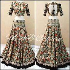 Garden Party, lehenga by MischB Couture Raw Silk Lehenga, Indian Lehenga, Lehenga Choli, Floral Lehenga, Net Lehenga, Desi Bride, Indian Attire, Indian Wear, Indian Style
