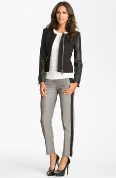 Vince Camuto Jacket, Tee & Ankle Pants.  Great office to dinner look.