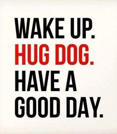 WAKE UP. HUG DOG. HAVE A GOOD DAY.  -photo credit to the owner #dogs #cats