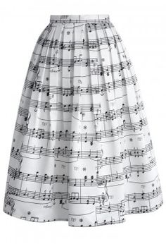 Dance With Music Notes Pleated Midi Skirt