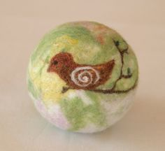 """Wool Felted Ball for Children """"Bird on a branch"""" / Waldorf toy. 33.00, via Etsy."""