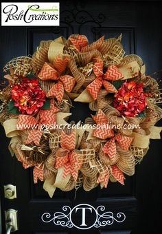 Fall Decor Wreath, Hydrangea Wreath, Fall Mesh Wreath, Fall Burlap Wreath, Fall Wreath, Chevron  Wreath, Custom initial Monogram