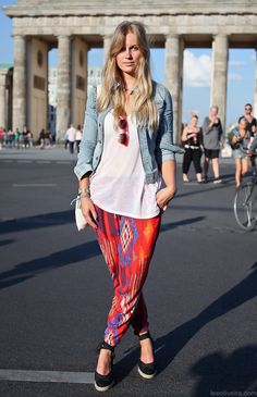Berlin. Ikat Printed pants, loose blouse, perfect jeans jacket, leather bag