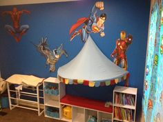 Superhero bedroom wall