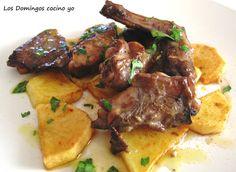 Conejo al ajillo Spanish Cuisine, Spanish Dishes, Barbacoa, Mexican Food Recipes, Chicken Recipes, Steak, Food And Drink, Pork, Tasty