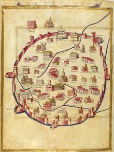 """The city of Milan"", is the miniature 'Ptolemy's Geography' the Bibliothèque nationale de France, Paris. Medieval Life, Medieval Art, Vintage Maps, Antique Maps, Milan Map, Old Maps, Map Design, City Maps, Art Graphique"
