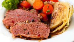 Guinness Corned Beef with Cabbage - Steamy Kitchen (St. Patrick's Day Lunch Barley Vegetables Meat Gluten Animal products Pickling spice Can...