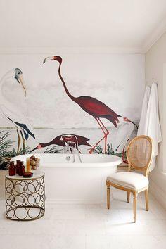 Bad Inspiration, Decoration Inspiration, Interior Inspiration, Bathroom Inspiration, Home Interior Design, Interior And Exterior, Interior Decorating, Vintage Bird Wallpaper, Wall Design